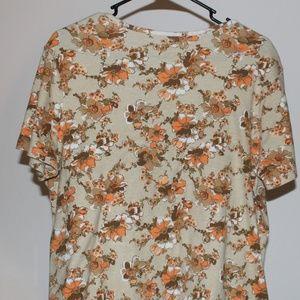 White Stag floral tan orange shirt size XXL 20